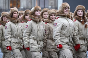 Moscow, Russia Members of the Yunarmiya youth military organisation conduct a dress rehearsal of a march in Red Square marking the 78th anniversary of the 7 November 1941 October Revolution Parade that took place during the battle of Moscow