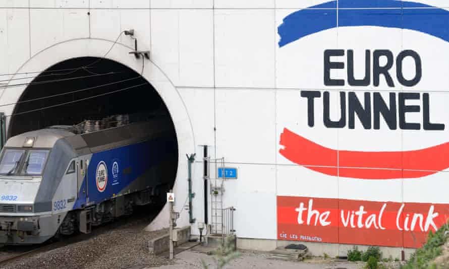 Eurowunnel train coming out of the Channel Tunnel