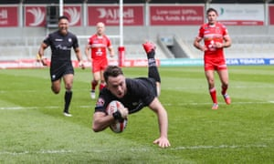 Ryan Brierley scores for Toronto Wolfpack against Salford Red Devils in the Challenge Cup.