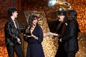 Rashida Jones, Alan Hicks and Paula DuPré Pesmen accept Best Music Film for 'Quincy'