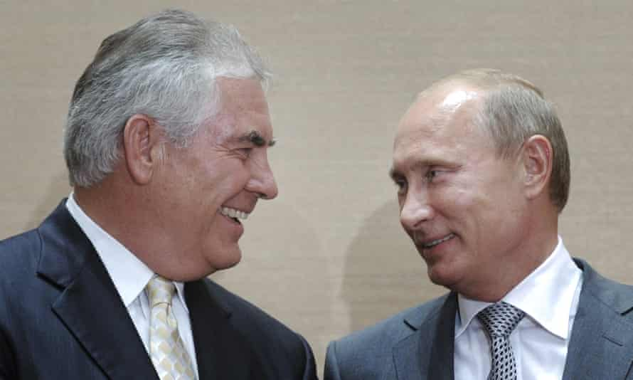 Russian Prime Minister Vladimir Putin and Rex Tillerson, ExxonMobil's chief executive, smile during a signing ceremony in the Black Sea resort of Sochi in 2011.