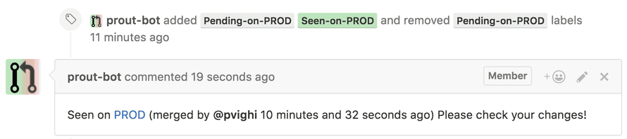 Prout reports when a merged pull request is seen in production