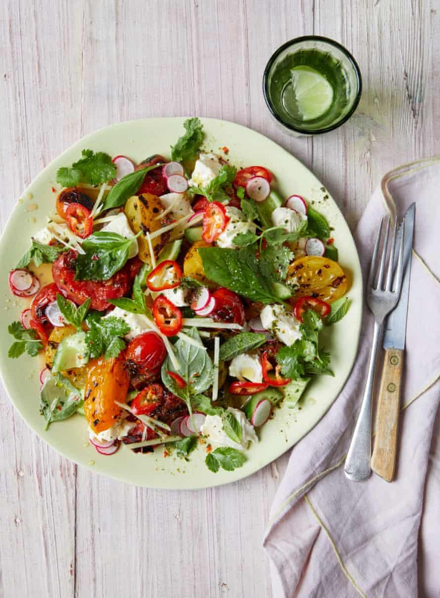 Ravinder Bhogal's grilled heirloom tomato salad with silken tofu and lime leaf dressing.