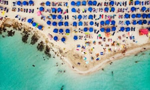 An aerial view over Nissi Beach in Cyprus.