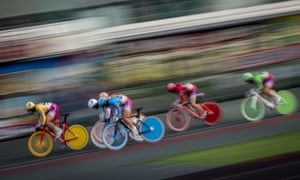Riders compete during one of the girls' races at the Kawasaki Velodrome in 2015