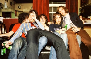 The Strokes backstage at the Fillmore, San Francisco, in October 2001
