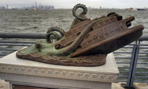 A cast-bronze faux monument by the artist Joseph Reginella, dedicated to the memory of the victims of the steam ferry Cornelius G Kolff, is shown in the Staten Island borough of New York.