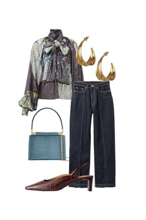 Peter Bevan, Fashion assistant 'Pair your sequins with jeans for a look that will take you from work to party.' Blouse, £350, ganni.com.Jeans, £40, weekday.com. Earrings, £140, rachelentwistle.co.uk. Mules, £85, stories.com. Bag, £22, topshop.com