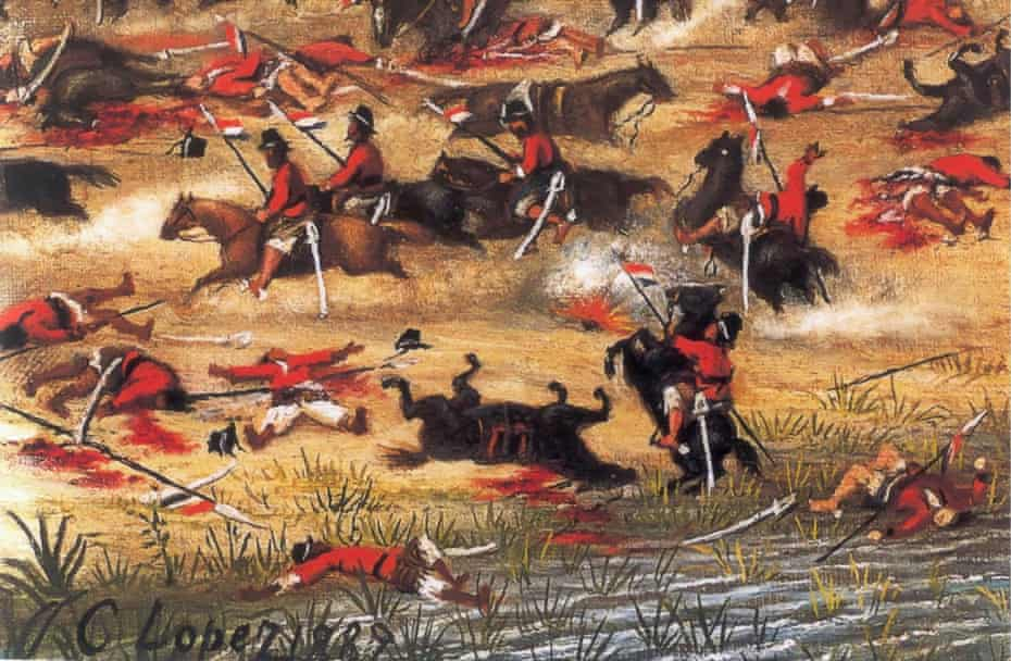 The Battle of Tuyutí during the War of the Triple Alliance.