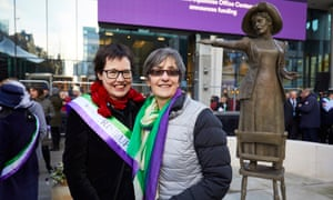 Hazel Reeves and Helen Pankhurst pose with 'Our Emmeline'.
