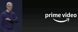 Tim Cook announces Amazon Prime Video coming to tvOS.