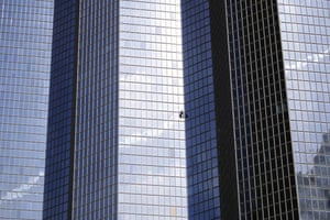 ParisThe urban climber, Alain Robert, also known as French 'Spiderman', climbs the building of energy group Total, at La Défense business centre.