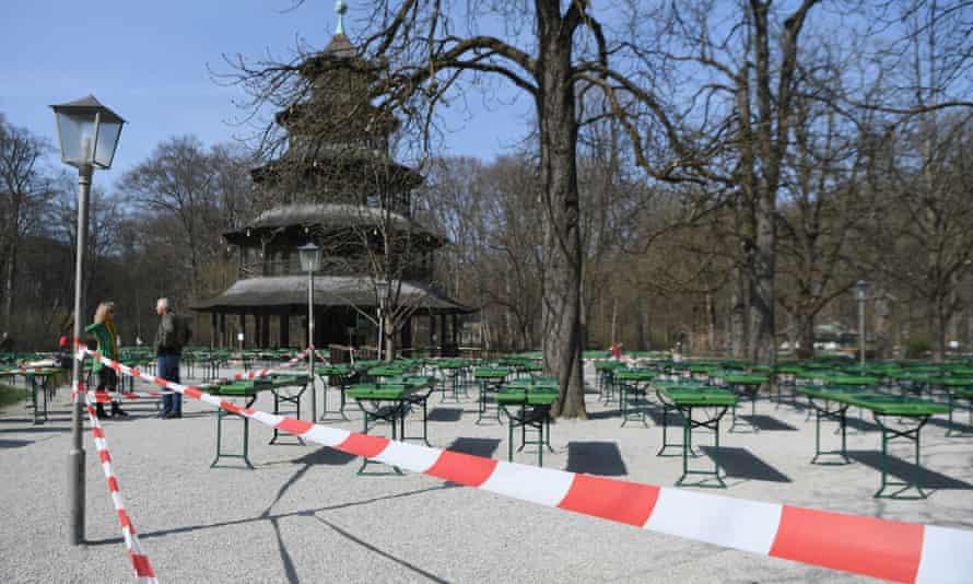 A closed beergarden at the Chinesischer Turm in Munich.