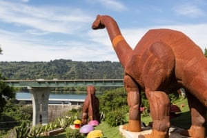 The dinosaurs at the Flintstone house. Mrs Fang is vague about the origin of the giant metal dinosaurs in the backyard, saying only that the come from 'Sonoma'