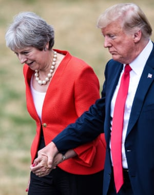 President Donald Trump and Prime Minister Theresa May arrive for their press conference.