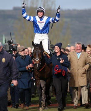 Bryony Frost celebrates victory in the Ryanair Chase on Frodon at Cheltenham in 2019.