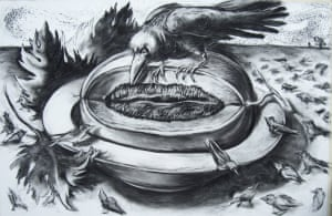 """Large Bowl of Fruit IV (with crows and murmuration)) Charcoal on Fabriano Paper 32"""" X 47"""""""