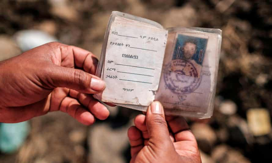 An ID card found in a mass grave of victims allegedly killed in the Mai Kadra massacre in Tigray on 9 November 2020.