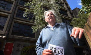 Jack Mundey outside the Sirius Apartments at 44 Cumberland Street in The Rocks, Sydney, Sept. 14, 2016.