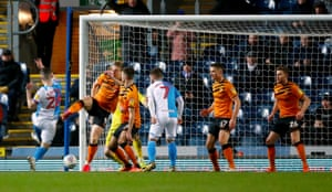 Darragh Lenihan thumps the ball into the net to give Blackburn a deserved lead..