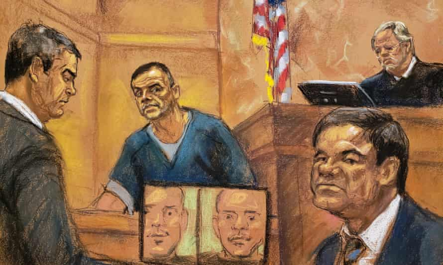 Joaquín 'El Chapo' Guzmán, right, listens during testimony by a former associate at his trial in New York.