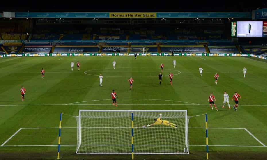 Patrick Bamford fires Leeds in front early in the second half.