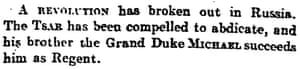 Manchester Guardian reports that Grand Duke Michael is regent, 16 March 1917