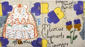 Queen with Pansies (Dots), 2016 by Rose Wylie