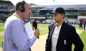 Jonathan Agnew in a familiar role interviewing Joe Root.