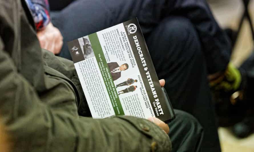 A Democrats and Veterans leaflet at the hustings – the party is one of 11 standing in the byelection.