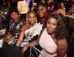 Mary J Blige, a multiple nominee, with Orange is the New Black cast members Danielle Brooks and Uzo Aduba.