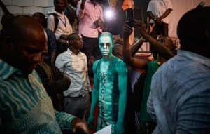 A supporter of Soumailla Cisse's party attends a political rally led by seventeen opposition candidates, who form a common political platform in Bamako to condemn the alleged fraud that took place during the 29 July election.