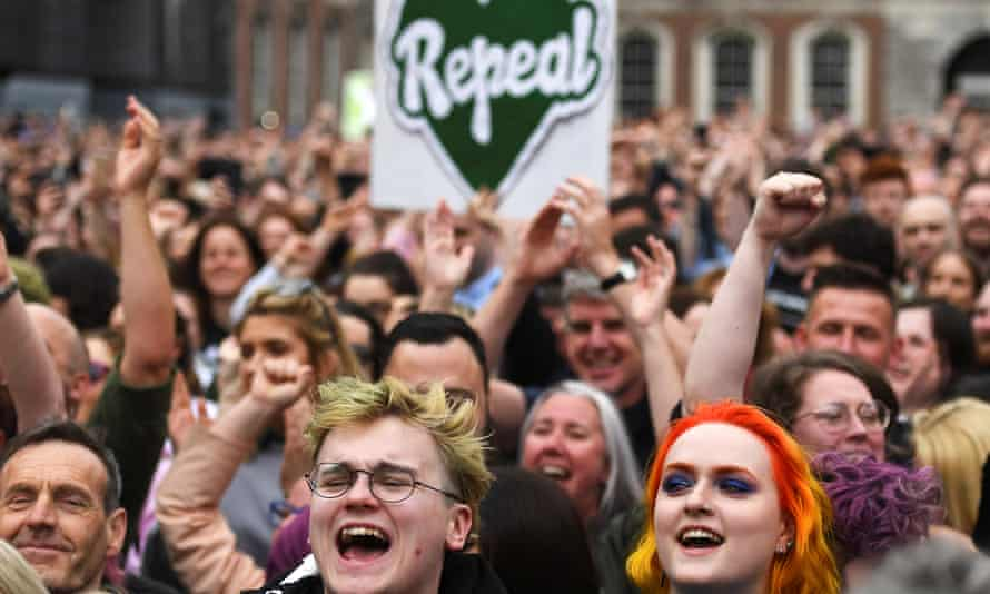 People celebrate the result of the Irish abortion referendum in May 2018