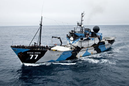 The ship, Steve Irwin.A still from the Sea Shepherd film Defend, Conserve, Protect.