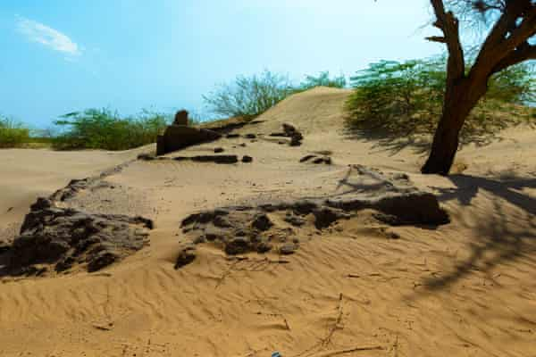 Former villages are now only visible as brick outlines in the sand