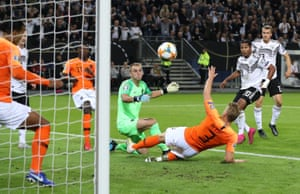 Serge Gnabry puts Germany ahead in Hamburg.