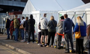 People queuing outside a test centre in Southend-on-seathis morning.