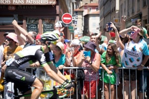 The riders depart stage 16 of the Tour de France in Le Puy-en-Velay