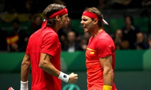 Rafael Nadal (right) fires up Feliciano López in the Davis Cup semi-final against Great Britain.
