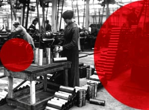 A female worker gauges shells in a munitions factory during the first world war.