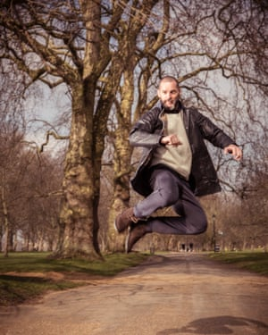 Fred Sirieix leaping up in the park