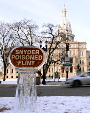 An ice sculpture outside Governor Rick Snyder's office.