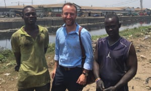 Jake Wallis Simons, centre, on his travels in Ghana, reporting on the phenomenon 'waithood'.
