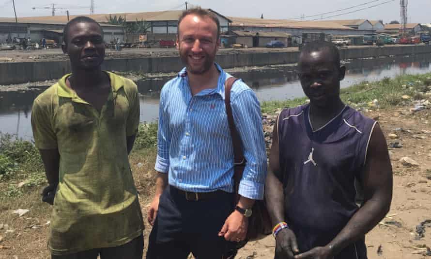 Jake Wallis Simons, centre, on his travels in Ghana, reporting on the phenomenon 'waithood'.