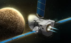 An artist's impression of BepiColombo approaching Mercury.
