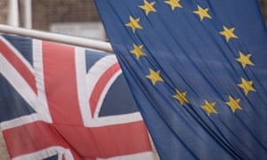 The UK and EU flags alongside one another.