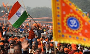Tens of thousands of Hindus at a rally calling for the construction of a temple on the site of the demolished 16th-century Babri mosque in Ayodhya.