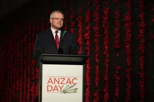 The prime minister, Scott Morrison, delivers the address during the Anzac Day commemorative service at the Australian War Memorial in Canberra.