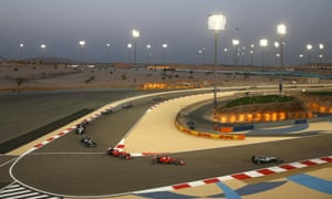 Lewis Hamilton of Great Britain and Mercedes GP leads during the Bahrain Formula One Grand Prix.
