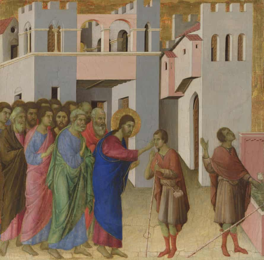 The Healing of the Man born Blind (c1308-1311) by Duccio di Buoninsegna (1260-1318).